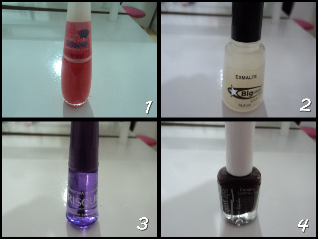 Esmaltes impala; esmaltes Risque; Esmaltes Big; esmalte coral; top coat; efeito fosco esmalte; esmalte com efeito fosco; esmalte marrom