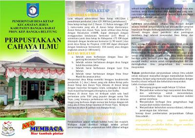 Profil Perpustakaan Desa Cahaya Ilmu, Desa Ketap Jebus Bangka Belitung