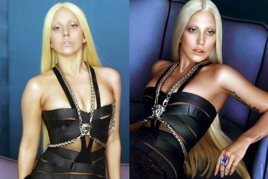hasil photosop Lady Gaga untuk versace