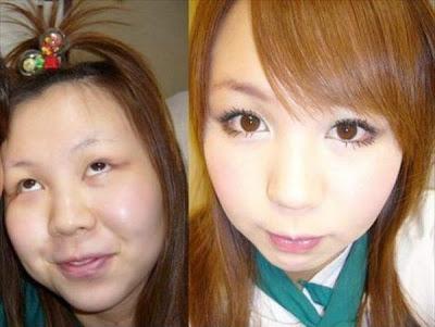 صور بنات اسيا قبل وبعد المكياج