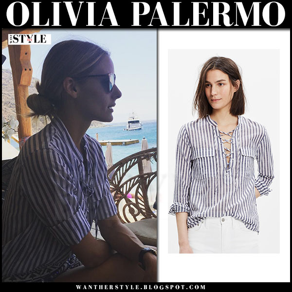 Olivia Palermo in striped lace up shirt madewel terrace what she wore vacationl
