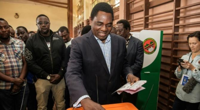 Zambian presidential candidate Hakainde Hichilema of main opposition party United Party for National Development, casts his ballot during the Zambian general elections on August 11, 2016 in Lusaka. By Gianluigi Guercia (AFP/File). Lusaka (AFP) - Zambia's constitutional court gave the country's main opposition leader two more days Saturday to present a petition challenging last month's disputed re-election of President Edgar Lungu.