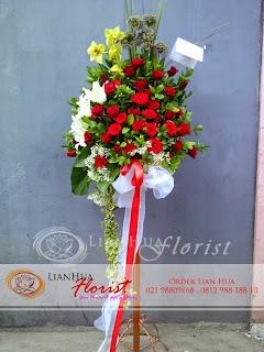 bunga standing flowers, bunga ucapan pernikahan, bunga ucapan selamat & sukses, congratulations flowers, toko bunga jakarta