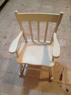 heirloom white spray paint on rocking chair