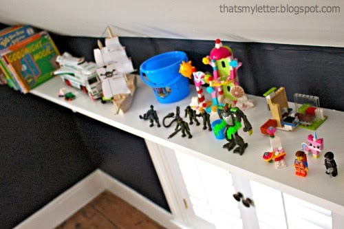 shelf for toys in the eaves