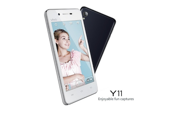 Vivo Y11 Specifications - LAUNCH Announced 2014 DISPLAY Type IPS LCD capacitive touchscreen, 16M colors Size 4.0 inches (~59.2% screen-to-body ratio) Resolution 480 x 800 pixels (~233 ppi pixel density) Multitouch Yes BODY Dimensions Dimensions 123 x 62.5 x 8.8 mm (4.84 x 2.46 x 0.35 in) Weight 124 g (4.37 oz) SIM Dual SIM (Micro-SIM, dual stand-by) PLATFORM OS Android OS, v4.4.4 (KitKat) CPU Quad-core 1.3 GHz Cortex-A7 Chipset Mediatek MT6582М GPU Mali-400MP2 MEMORY Card slot microSD, up to 128 GB (dedicated slot) Internal 4 GB, 512 MB RAM CAMERA Primary 5 MP, autofocus, LED flash Secondary 2 MP Features Geo-tagging, touch focus Video 1080p@30fps NETWORK Technology GSM / HSPA 2G bands GSM 850 / 900 / 1800 / 1900 - SIM 1 & SIM 2 3G bands HSDPA 900 / 2100 Speed HSPA 21.1/7.2 Mbps GPRS Yes EDGE Yes COMMS WLAN WLAN Wi-Fi 802.11 b/g/n, Wi-Fi Direct, hotspot Infrared Port Yes GPS Yes, with A-GPS USB microUSB v2.0, USB Host Radio FM radio Bluetooth v4.0, A2DP, EDR FEATURES Sensors Sensors Accelerometer, proximity Messaging Messaging SMS(threaded view), MMS, Email, Push Mail, IM Browser HTML5 Java No SOUND Alert types Vibration; MP3, WAV ringtones Loudspeaker Yes 3.5mm jack Yes BATTERY  Removable Li-Po 1700 mAh battery Stand-by  Talk time Up to 11 h (2G) / Up to 8 h (3G) Music play Up to 34 h MISC Colors White, Black SAR US - MP4/H.264 player - MP3/WAV/FLAC/eAAC+ player - Photo editor - Document viewer