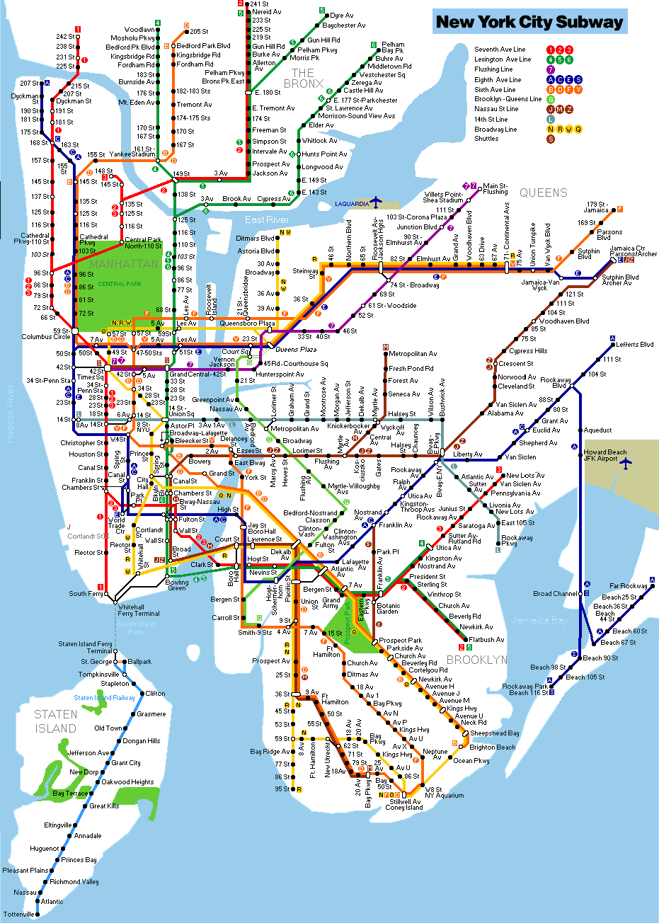 Train Subway Map New York.Subway New York City Trippers