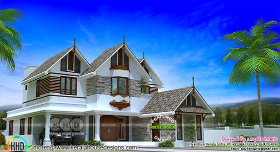2300 sq-ft, 5 bedroom sloping roof house