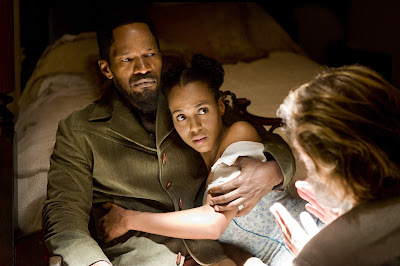 Jamie Foxx as Django, Kerry Washington as German-speaking slave girl Broomhilda, Django Unchained, Directed by Quentino Tarantino