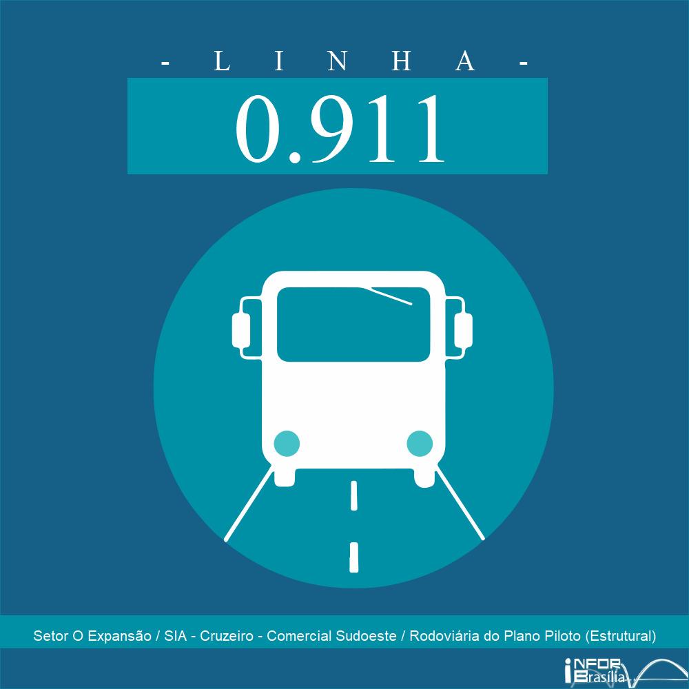 Horário de ônibus e itinerário 0.911 - Setor O Expansão / SIA - Cruzeiro - Comercial Sudoeste / Rodoviária do Plano Piloto (Estrutural)