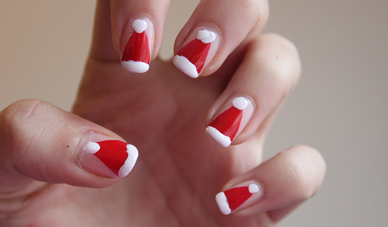 Christmas Nails Father Christmas Hat A Little Obsessed