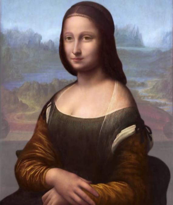 レオナルド・ダ・ヴィンチのモナリザの三層目のモデルのリザ・デル・ジョコンド/リザ・ゲラルディーニの復元図
