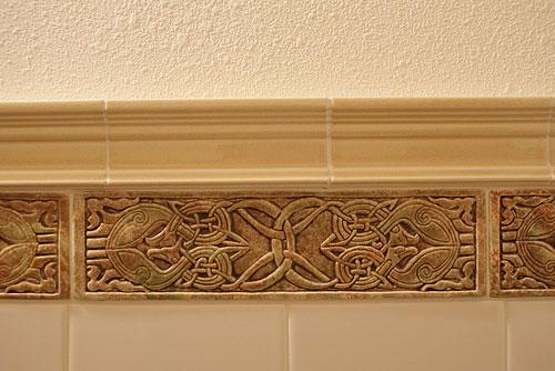 3x11 5 Relief Carved Ceramic Celtic Eagle Border Tile