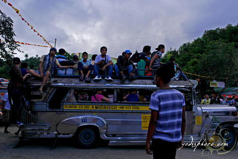 Toploading of jeepney, a common scene in Marinduque Philippines