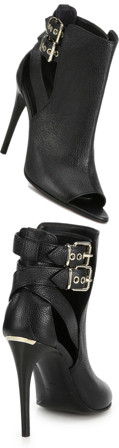 Burberry Peep-Toe Buckled Leather Booties