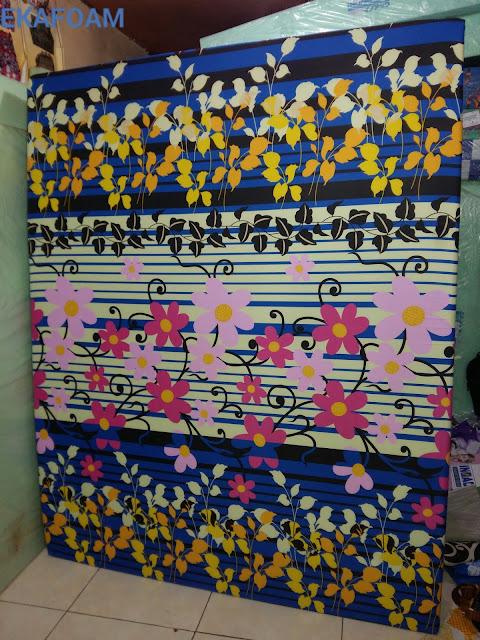 kasur inoac terbaru motif bunga sakura biru