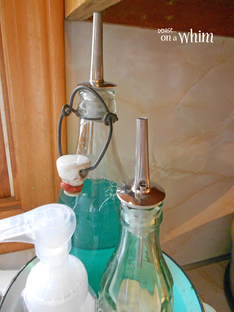 Vintage Bottles with Liquor Pourers for Kitchen Soaps   Denise on a Whim