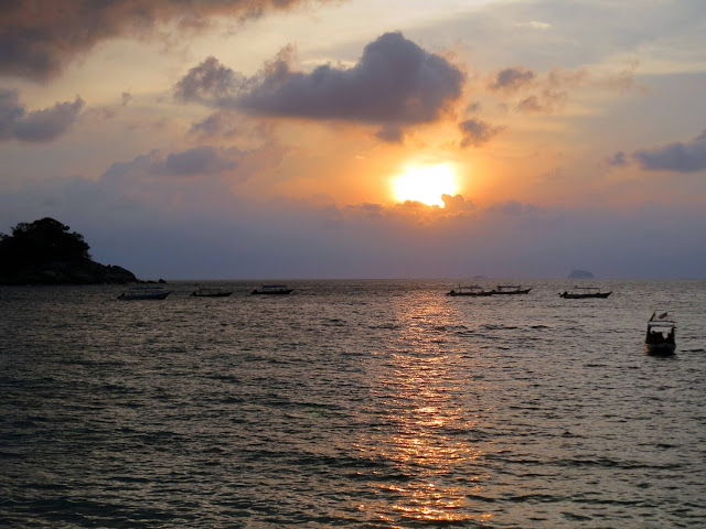 sunset, salang bay, tioman island, south china sea, Malaysia