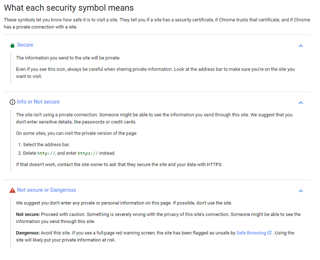 "Chrome now has individual ""symbols"" for secure, questionable, and dangerous websites."