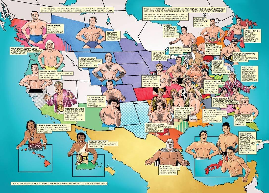 NWA territories with their most well-known stars wrestling map. StrengthFighter.com
