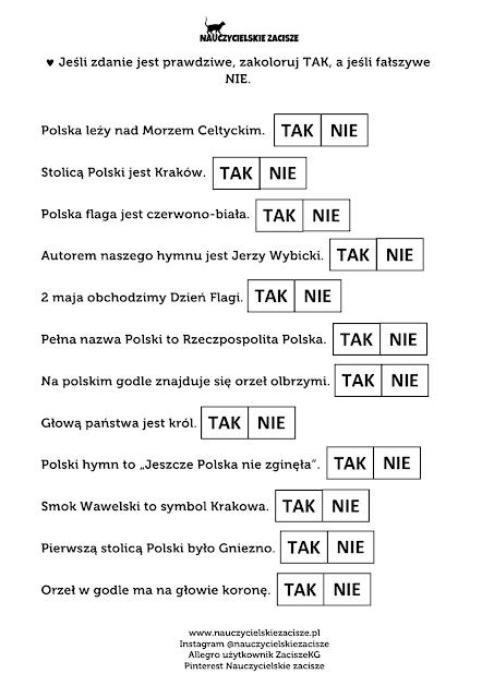 Polska święta majowe Kodowanie Karty pracy Nauczycielskie zacisze