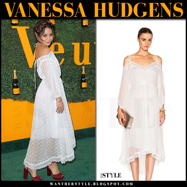 Vanessa Hudgens in white embroidered sheer off shoulder dress zimmeramnn realm what she wore red carpet
