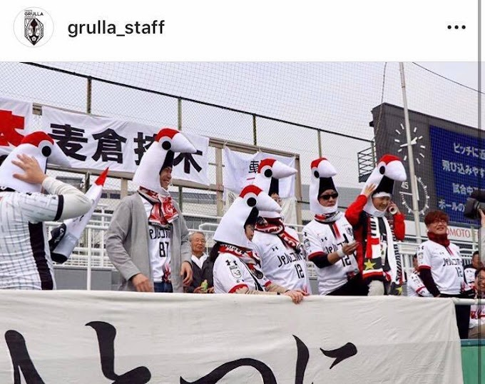 Iwate Grulla Morioka fans turn up to match in brilliant crane hats