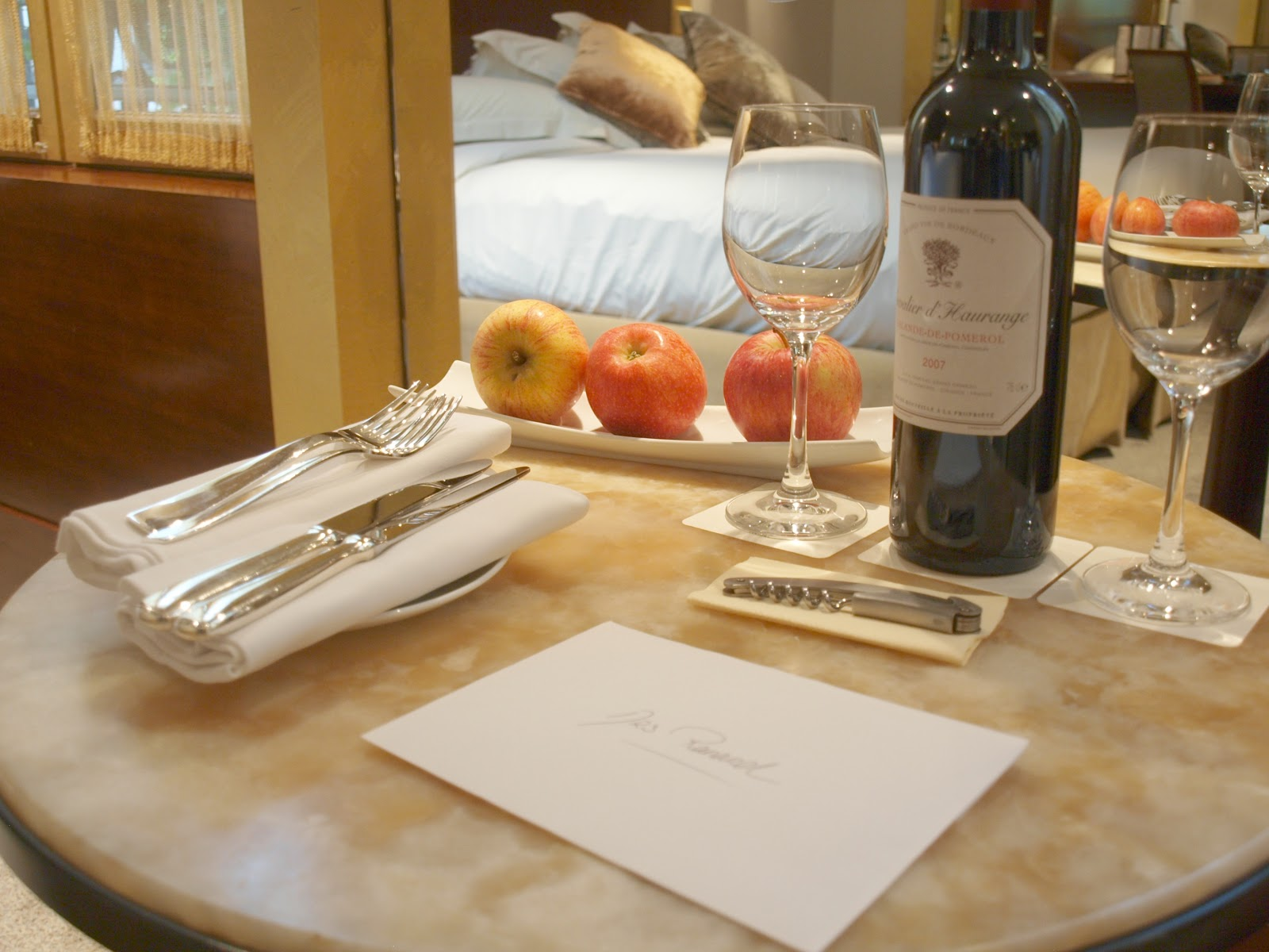 Detail of table in suite within Park Hyatt Paris by Hello Lovely studio