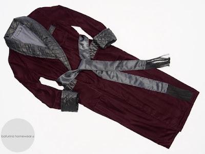 men's warm burgundy cotton velvet dressing gown luxury robe black quilted silk shawl collar lapel