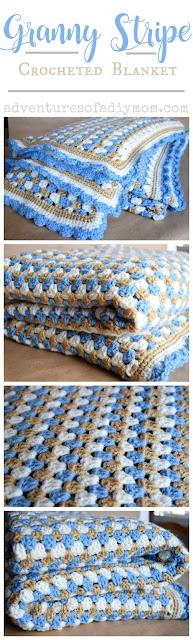 Granny Sripe Crocheted Blanket