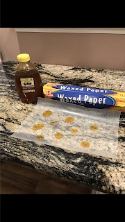 Homemade cough drops. So it was a fail but not a complete fail! Very soothing cold ( but not frozen) honey drops for a sore throat!