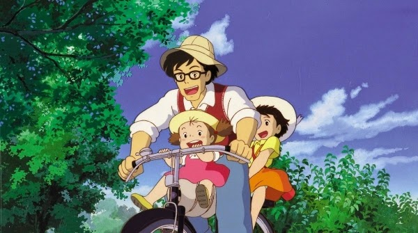 The family enjoys a moment in Hayao Miyazaki's My Neighbor Totoro.