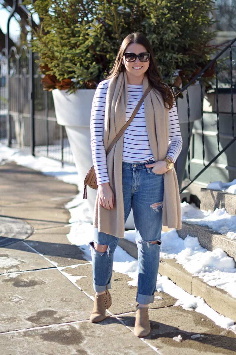 Striped tee and boyfriend jeans with booties on Seaside Styled.