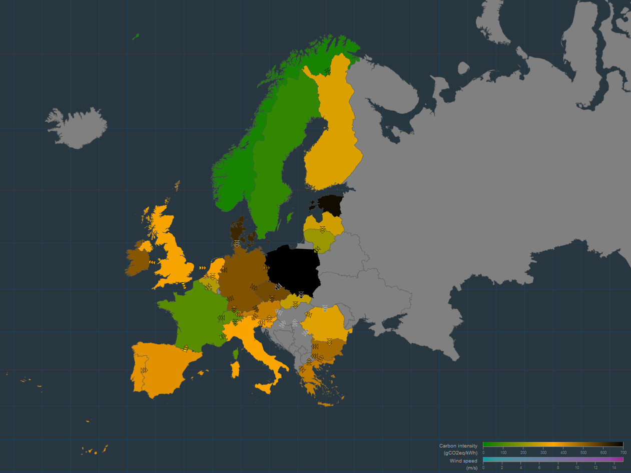 Live CO2 emissions of the European electricity production