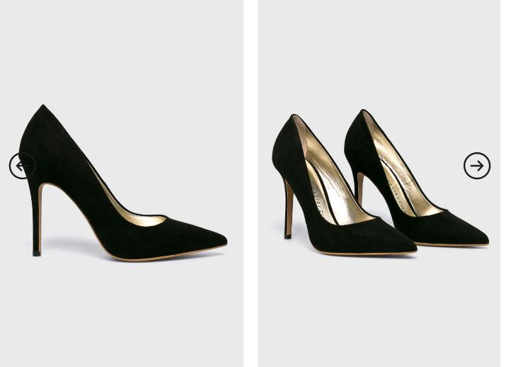 Baldowski - Pantofi cu toc negri de firma piele intoarsa eleganti