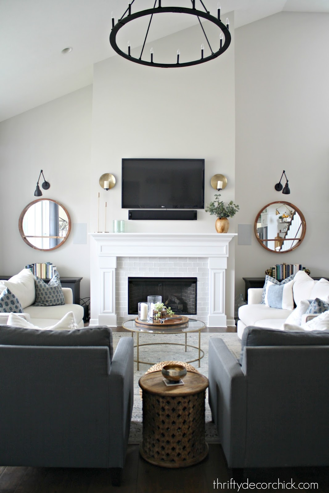 Tall Fireplace Wall Transformation With Paint From Thrifty Decor Chick