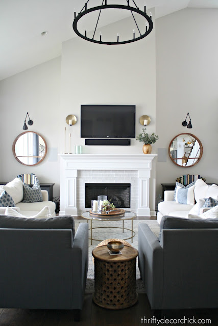 Family room with tall fireplace