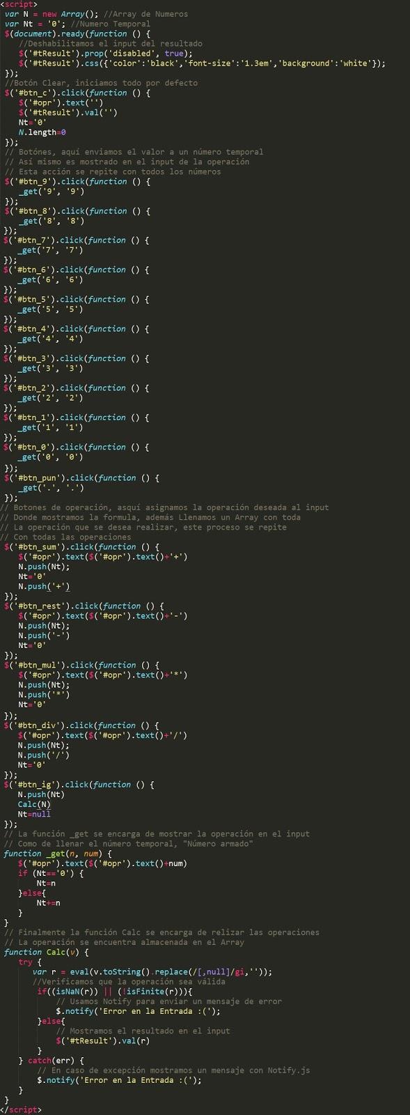 Como crear una calculadora con javascript