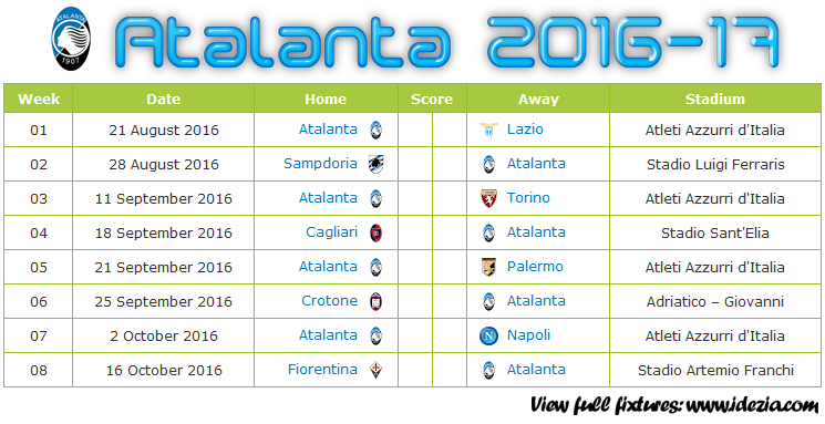 Download Jadwal Atalanta BC 2016-2017 File JPG - Download Kalender Lengkap Pertandingan Atalanta BC 2016-2017 File JPG - Download Atalanta BC Schedule Full Fixture File JPG - Schedule with Score Coloumn