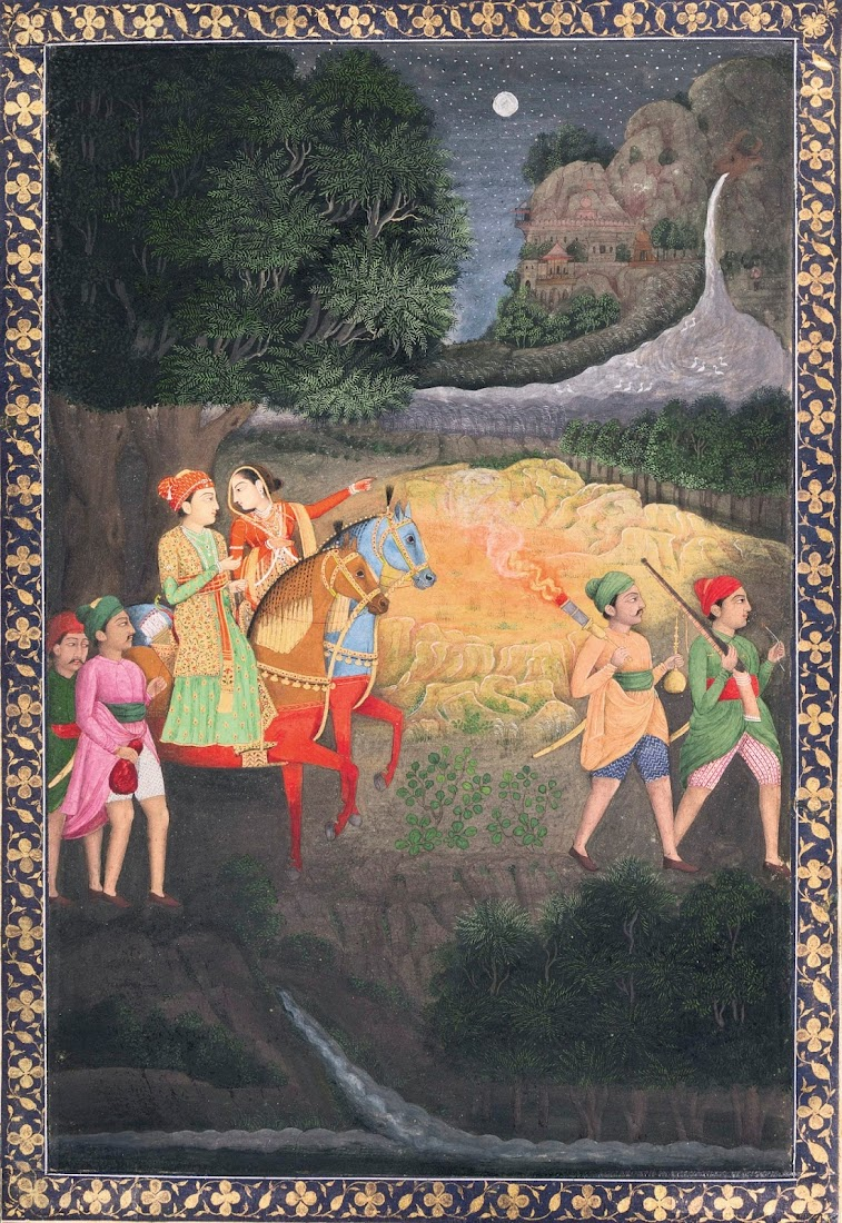 A Prince and Princess Riding at Night - Mughal Painting, Second Half of 18th Century