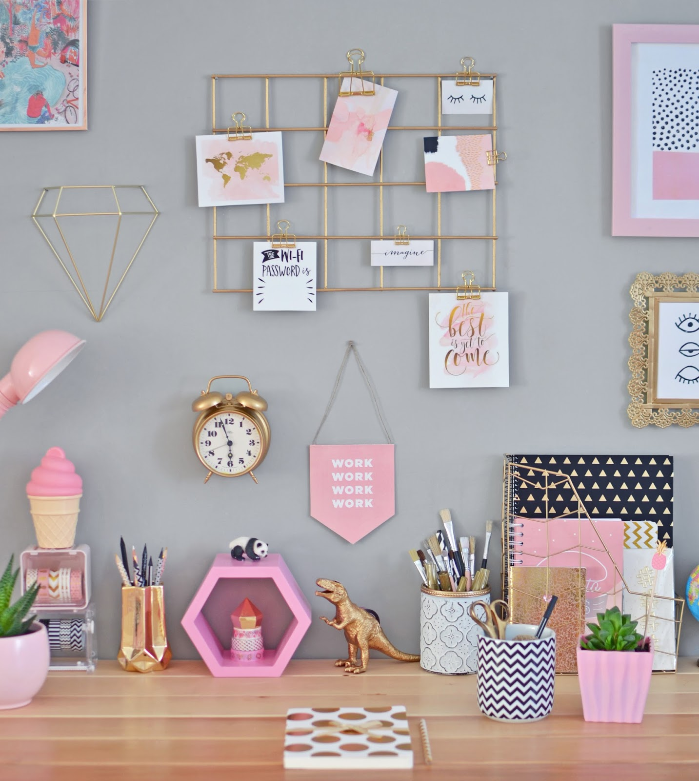 HOME OFFICE DECOR / DIY TUTORIAL + FREE PRINTABLES
