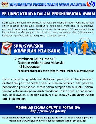 Permohonan Jawatan Kosong Jabatan Arkib Negara Malaysia 2018