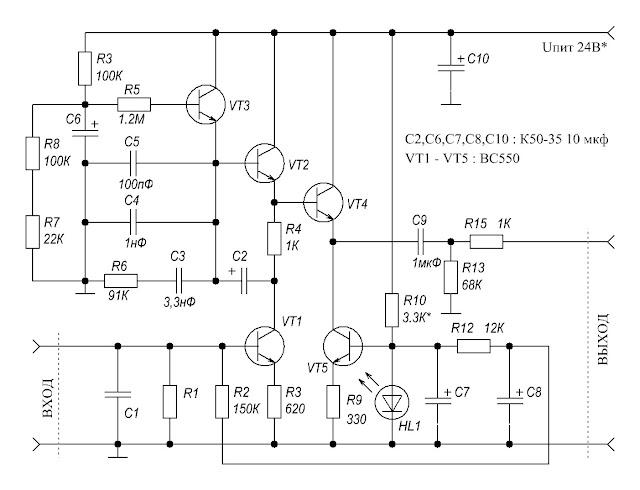Схема корректора Никитина для проигрывателя виниловых пластинок