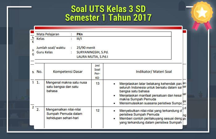Soal UTS Kelas 3 SD Semester 1 Tahun 2017