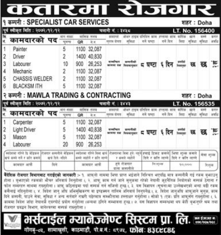 Jobs For Nepali In Qatar, Free Ticket, Salary -Rs.40,838/