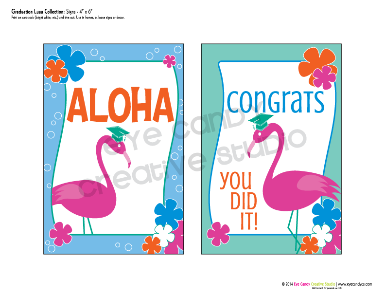 aloha grad sign, congrats sign, you did it sign, grad party, flamingos