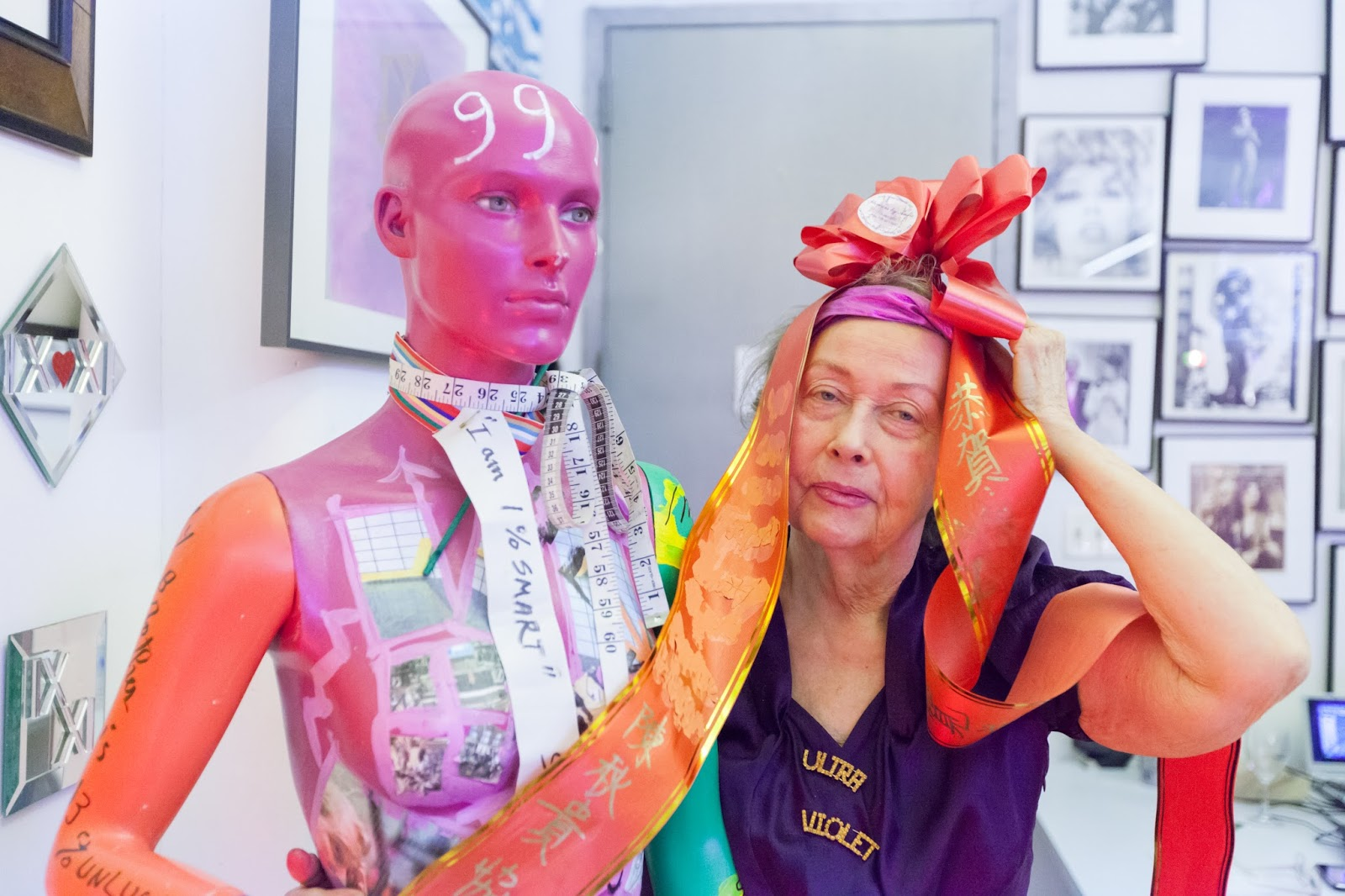 Isabelle Collin Dufresne - Ultra Violet, an artist and muse to Salvador Dali and Andy Warhol. I photographed her and her work in her studio in New York. Ultra Violet with her 99 percent mannequin. Photographs by Mirena Rhee.