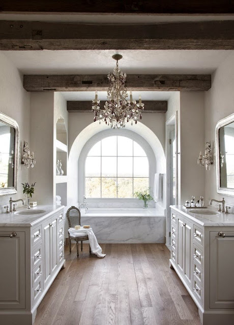 Dream House Bathroom with Chandelier Double Sink Large Bathtub Hardwood Floors