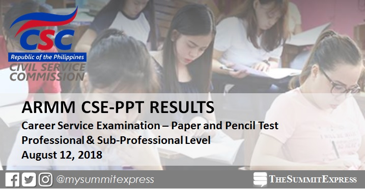 ARMM Passers List: August 2018 Civil Service Exam CSE-PPT results