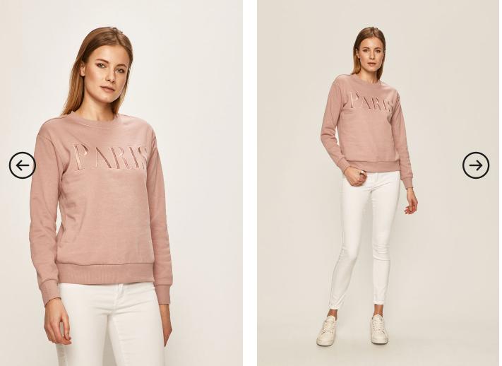 Bluza de femei roz de firma la pret mic pentru iarna cu scris auriu